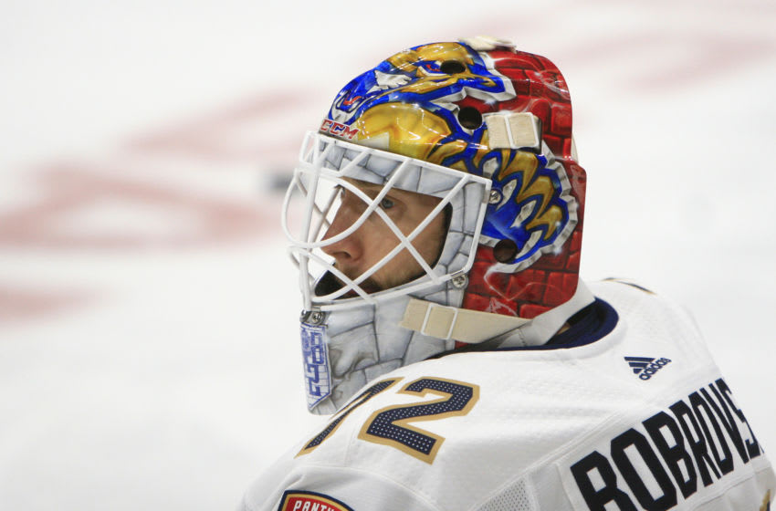 NASHVILLE, TN - OCTOBER 19: The artwork on the mask of Florida Panthers goalie Sergei Bobrovsky (72) is shown prior to the NHL game between the Nashville Predators and Florida Panthers, held on October 19, 2019, at Bridgestone Arena in Nashville, Tennessee. (Photo by Danny Murphy/Icon Sportswire via Getty Images)