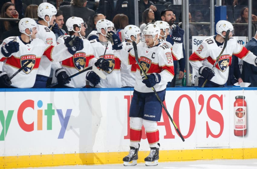 NEW YORK, NY - NOVEMBER 10: Aleksander Barkov #16 of the Florida Panthers celebrates with teammates after scoring a goal in the first period against the New York Rangers at Madison Square Garden on November 10, 2019 in New York City. (Photo by Jared Silber/NHLI via Getty Images)