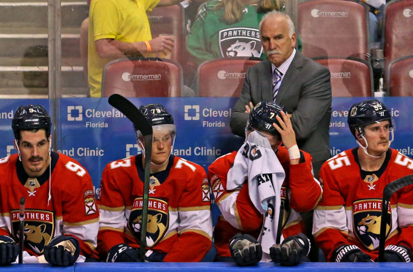 Florida Panthers head coach Joel Quenneville looks from the bench during the first periodagainst the Winnipeg Jets at the BB&T Center in Sunrise, Fla., on Thursday, Nov. 14, 2019. (David Santiago/Miami Herald/Tribune News Service via Getty Images)