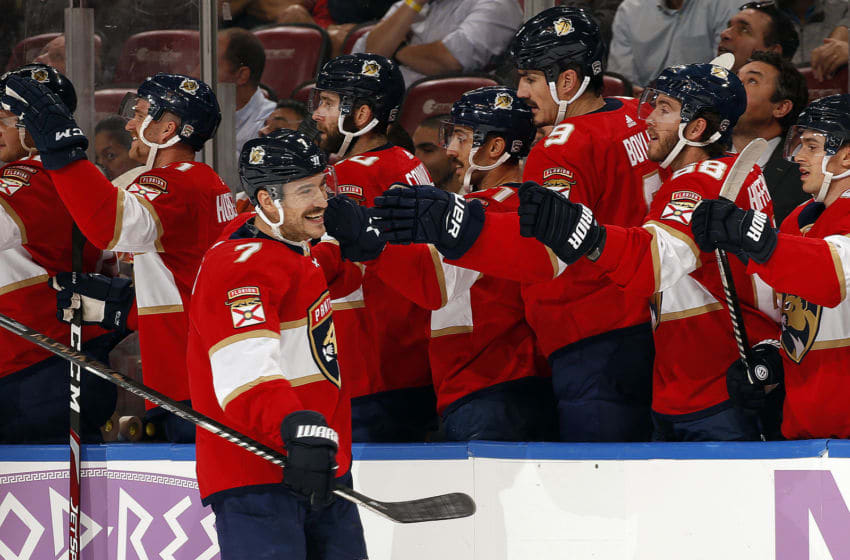 SUNRISE, FL - NOVEMBER. 19: Colton Sceviour #7 of the Florida Panthers celebrates his goal with teammates during the first period against the Philadelphia Flyers at the BB&T Center on November 19, 2019 in Sunrise, Florida. (Photo by Eliot J. Schechter/NHLI via Getty Images)