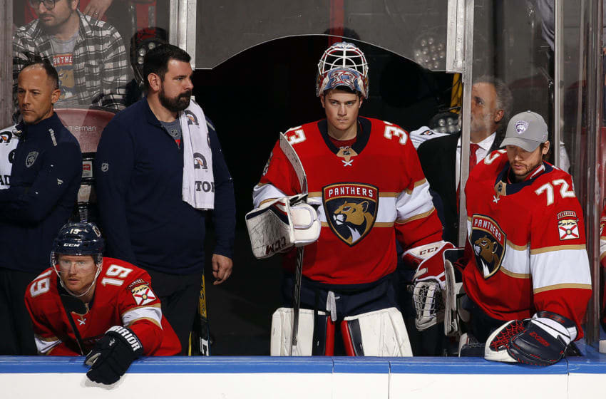 SUNRISE, FL - NOVEMBER 24: Goaltender Sam Montembeault #33 and fellowGoaltender Sergei Bobrovsky #72 of the Florida Panthers on the bench while a extra attacker is in against the Buffalo Sabres at the BB&T Center on November 24, 2019 in Sunrise, Florida. (Photo by Eliot J. Schechter/NHLI via Getty Images)