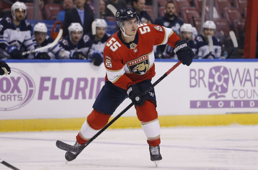 SUNRISE, FLORIDA - NOVEMBER 14: Noel Acciari #55 of the Florida Panthers skates against the Winnipeg Jets during the first period at BB&T Center on November 14, 2019 in Sunrise, Florida. (Photo by Michael Reaves/Getty Images)