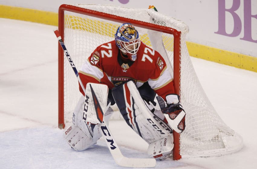 SUNRISE, FLORIDA - NOVEMBER 14: Sergei Bobrovsky #72 of the Florida Panthers tends the net against the Winnipeg Jets during the first period at BB&T Center on November 14, 2019 in Sunrise, Florida. (Photo by Michael Reaves/Getty Images)