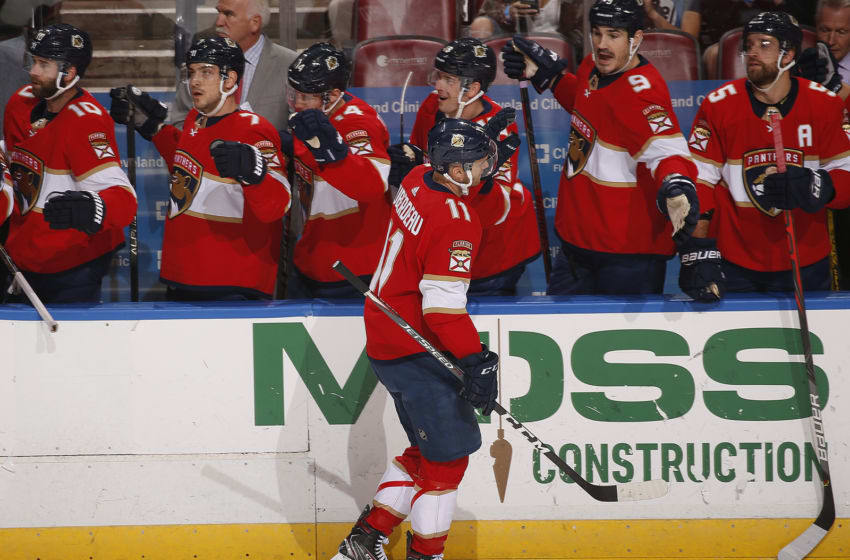 SUNRISE, FL - DECEMBER 20: Jonathan Huberdeau #11 of the Florida Panthers celebrates his goal with teammates during the first period against the Dallas Stars at the BB&T Center on December 20, 2019 in Sunrise, Florida. (Photo by Eliot J. Schechter/NHLI via Getty Images)