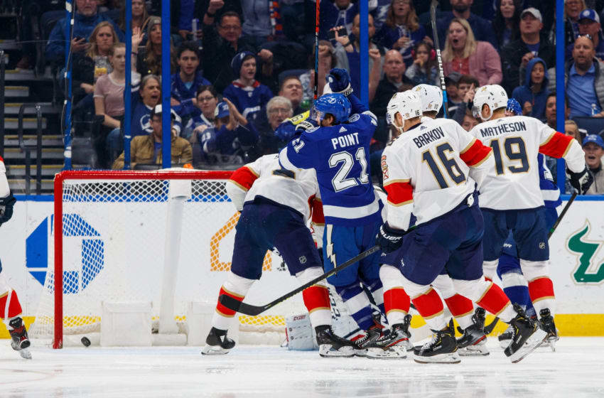 TAMPA, FL - DECEMBER 23: Brayden Point #21 of the Tampa Bay Lightning celebrates his goal against the Florida Panthers during the first period at Amalie Arena on December 23, 2019 in Tampa, Florida (Photo by Mike Carlson/NHLI via Getty Images)
