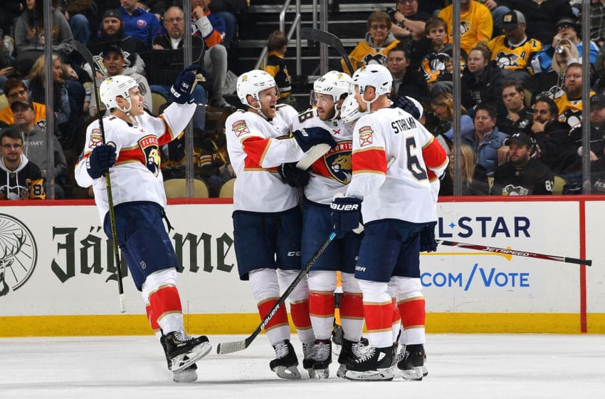 PITTSBURGH, PA - JANUARY 05: Mike Hoffman #68 of the Florida Panthers celebrates his goal with teammates during the third period against the Pittsburgh Penguins at PPG PAINTS Arena on January 5, 2020 in Pittsburgh, Pennsylvania. (Photo by Joe Sargent/NHLI via Getty Images)