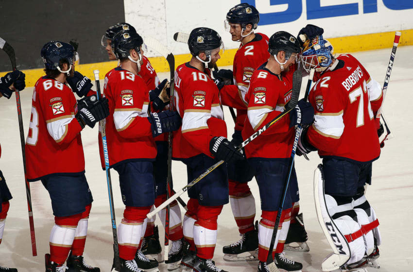 SUNRISE, FL - JANUARY 09: The Florida Panthers celebrate their 5-2 win over the Vancouver Canucks at the BB&T Center on January 9, 2020 in Sunrise, Florida. (Photo by Eliot J. Schechter/NHLI via Getty Images)