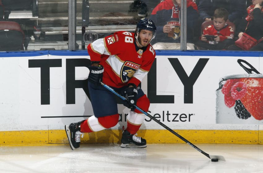 SUNRISE, FL - JANUARY 16: Mike Hoffman #68 of the Florida Panthers skates with the puck against the Los Angeles Kings at the BB&T Center on January 16, 2020 in Sunrise, Florida. (Photo by Joel Auerbach/Icon Sportswire via Getty Images)
