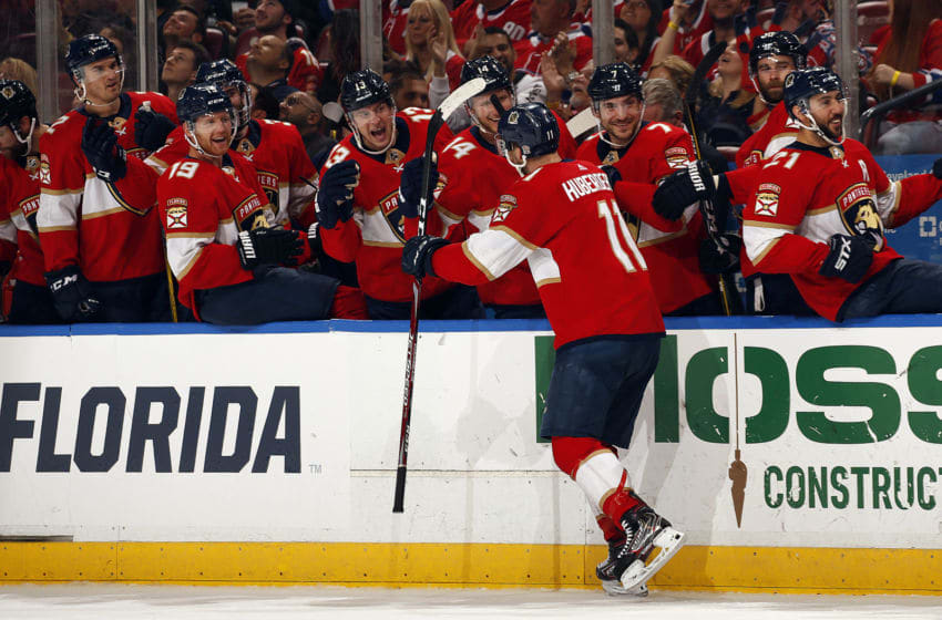 SUNRISE, FL - DECEMBER 29: Jonathan Huberdeau #11 of the Florida Panthers celebrates his second goal of the game with teammates during the second period against the Montreal Canadiens at the BB&T Center on December 29, 2019 in Sunrise, Florida. (Photo by Eliot J. Schechter/NHLI via Getty Images)