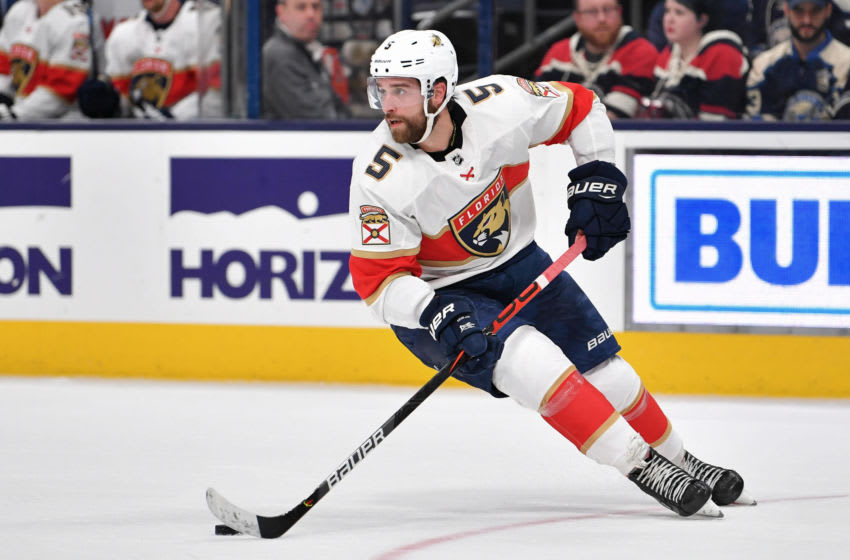 COLUMBUS, OH - DECEMBER 31: Aaron Ekblad #5 of the Florida Panthers skates against the Columbus Blue Jackets on December 31, 2019 at Nationwide Arena in Columbus, Ohio. (Photo by Jamie Sabau/NHLI via Getty Images)