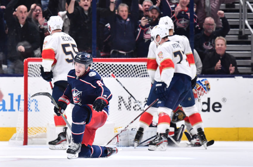 COLUMBUS, OH - FEBRUARY 4: Zach Werenski #8 of the Columbus Blue Jackets reacts after scoring the game-winning goal during the overtime period of a game against the Florida Panthers on February 4, 2020 at Nationwide Arena in Columbus, Ohio. (Photo by Jamie Sabau/NHLI via Getty Images)