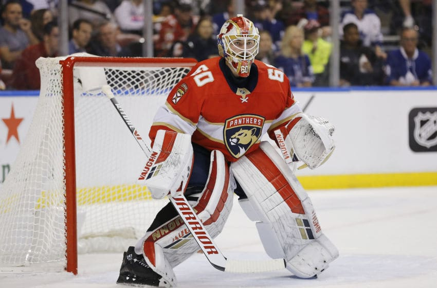 SUNRISE, FLORIDA - JANUARY 12: Chris Driedger #60 of the Florida Panthers tends the net against the Toronto Maple Leafs during the first period at BB&T Center on January 12, 2020 in Sunrise, Florida. (Photo by Michael Reaves/Getty Images)