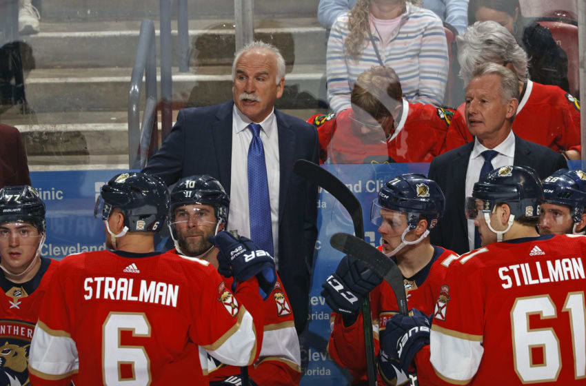 SUNRISE, FL - FEBRUARY 29: Florida Panthers Head coach Joel Quenneville of the Florida Panthers directs the players during a time out against the Chicago Blackhawks at the BB&T Center on February 29, 2020 in Sunrise, Florida. The Blackhawks defeated the Panthers 3-2 in the shootout. (Photo by Joel Auerbach/Getty Images)