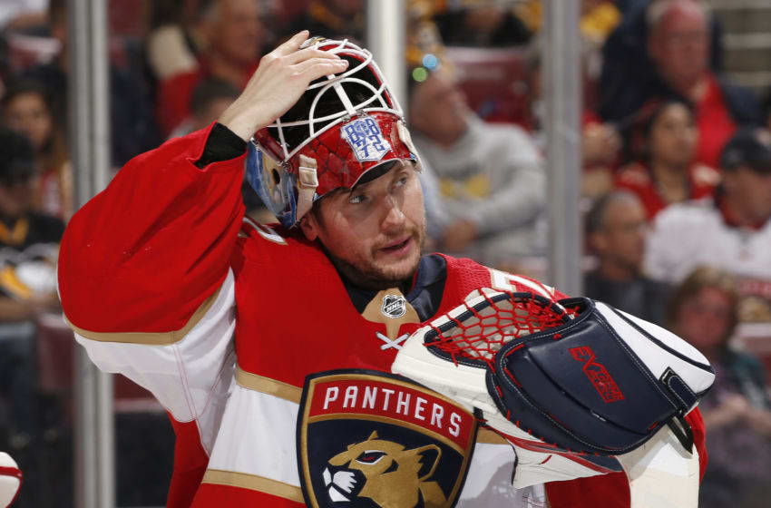 SUNRISE, FL - FEBRUARY 8: Goaltender Sergei Bobrovsky #72 of the Florida Panthers removes his helmet during a break in action against the Pittsburgh Penguins at the BB&T Center on February 8, 2020 in Sunrise, Florida. The Penguins defeated the Panthers 3-2. (Photo by Joel Auerbach/Getty Images)