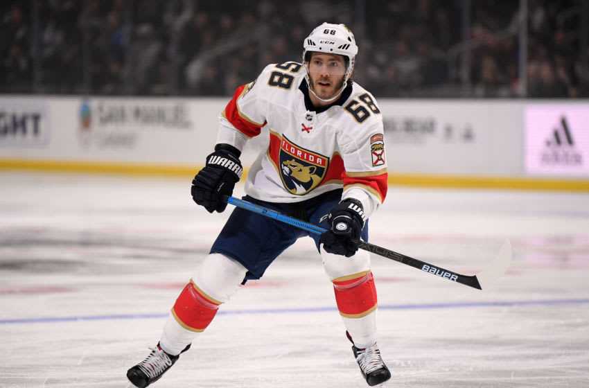 LOS ANGELES, CALIFORNIA - FEBRUARY 20: Mike Hoffman #68 of the Florida Panthers forechecks during a 5-4 Los Angeles Kings win at Staples Center on February 20, 2020 in Los Angeles, California. (Photo by Harry How/Getty Images)
