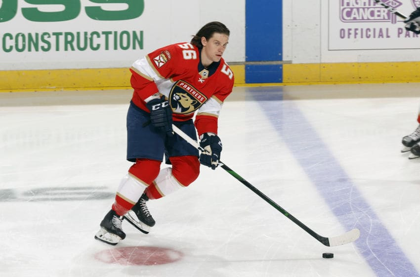 SUNRISE, FL - FEBRUARY 29: Erik Haula #56 of the Florida Panthers skates prior to the game against the Chicago Blackhawks at the BB&T Center on February 29, 2020 in Sunrise, Florida. The Blackhawks defeated the Panthers 3-2 in the shootout. (Photo by Joel Auerbach/Getty Images)