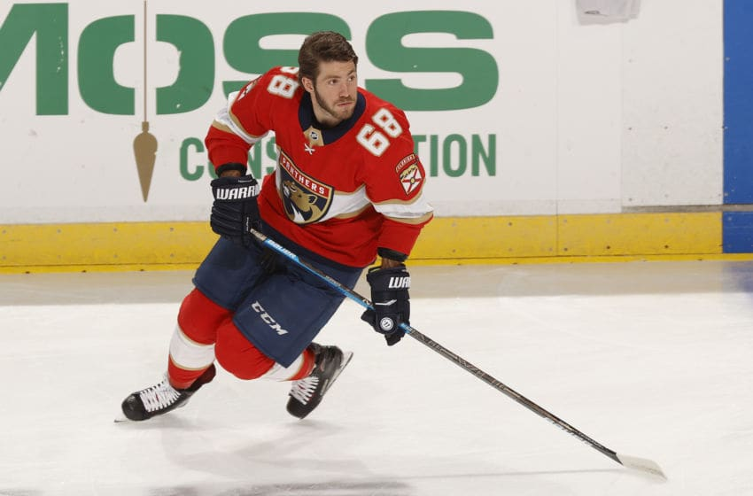 SUNRISE, FL - FEBRUARY 29: Mike Hoffman #68 of the Florida Panthers skates prior to the game against the Chicago Blackhawks at the BB&T Center on February 29, 2020 in Sunrise, Florida. The Blackhawks defeated the Panthers 3-2 in the shootout. (Photo by Joel Auerbach/Getty Images)