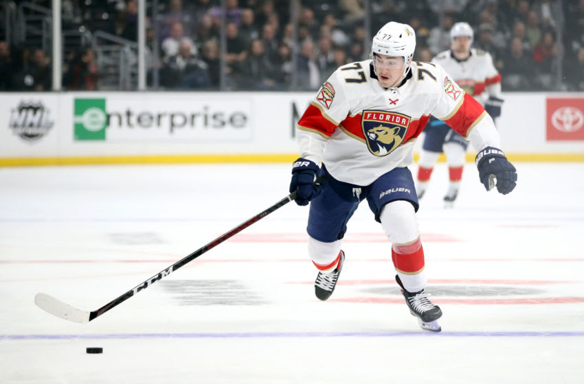 LOS ANGELES, CALIFORNIA - FEBRUARY 20: Frank Vatrano #77 of the Florida Panthers skates during a game against the Los Angeles Kings at Staples Center on February 20, 2020 in Los Angeles, California. (Photo by Katelyn Mulcahy/Getty Images)