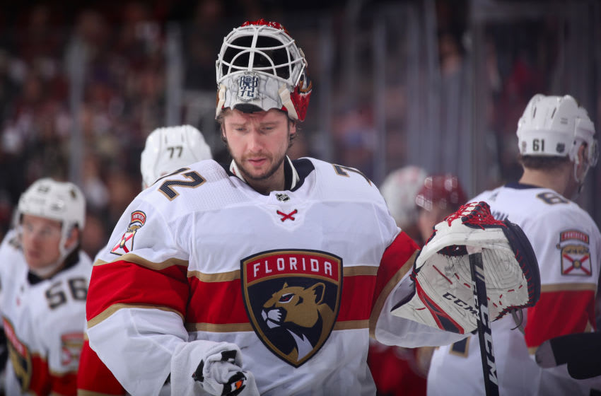 GLENDALE, ARIZONA - FEBRUARY 25: Goaltender Sergei Bobrovsky #72 of the Florida Panthers during the NHL game against the Arizona Coyotes at Gila River Arena on February 25, 2020 in Glendale, Arizona. The Panthers defeated the Coyotes 2-1. (Photo by Christian Petersen/Getty Images)