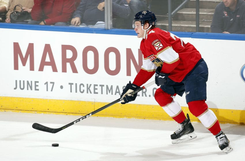 SUNRISE, FL - OCTOBER 26: Owen Tippett #74 of the Florida Panthers skates with the puck against the Anaheim Ducks at the BB&T Center on October 26, 2017 in Sunrise, Florida. (Photo by Eliot J. Schechter/NHLI via Getty Images)