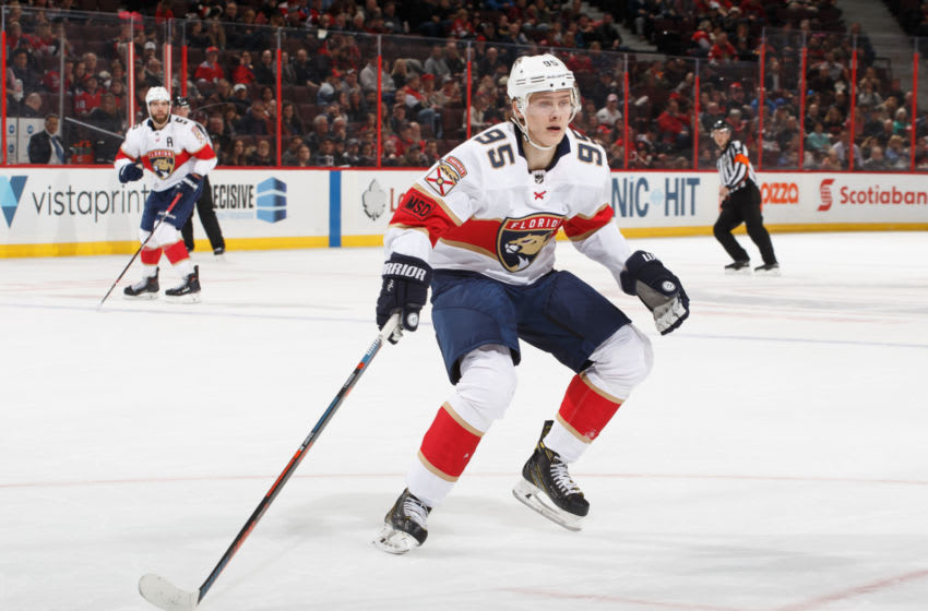 OTTAWA, ON - MARCH 29: Making his NHL debut, Henrik Borgstrom #95 of the Florida Panthers skates against the Ottawa Senators at Canadian Tire Centre on March 29, 2018 in Ottawa, Ontario, Canada. (Photo by Andre Ringuette/NHLI via Getty Images)