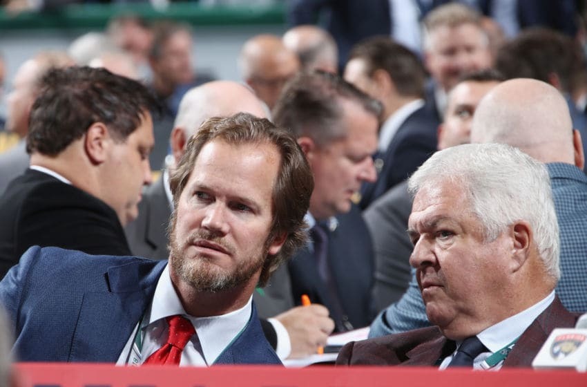 DALLAS, TX - JUNE 23: (l-r) Chris Pronger and Dale Tallon of the Florida Panthers attend the 2018 NHL Draft at American Airlines Center on June 23, 2018 in Dallas, Texas. (Photo by Bruce Bennett/Getty Images)