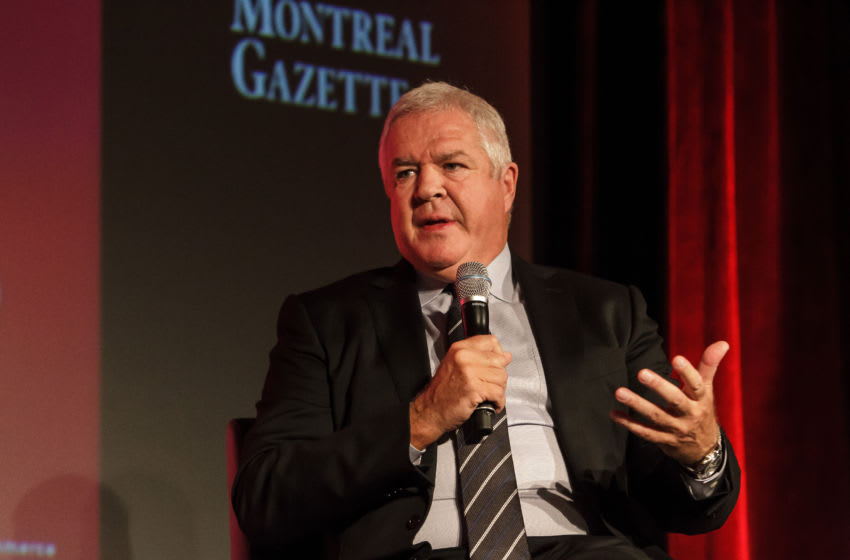 MONTREAL, QC - NOVEMBER 17: Florida Panthers general manager Dale Tallon speaks during a Q