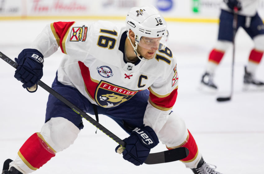OTTAWA, ON - MARCH 28: Florida Panthers Center Aleksander Barkov (16) prepares for a face-off during first period National Hockey League action between the Florida Panthers and Ottawa Senators on March 28, 2019, at Canadian Tire Centre in Ottawa, ON, Canada. (Photo by Richard A. Whittaker/Icon Sportswire via Getty Images)