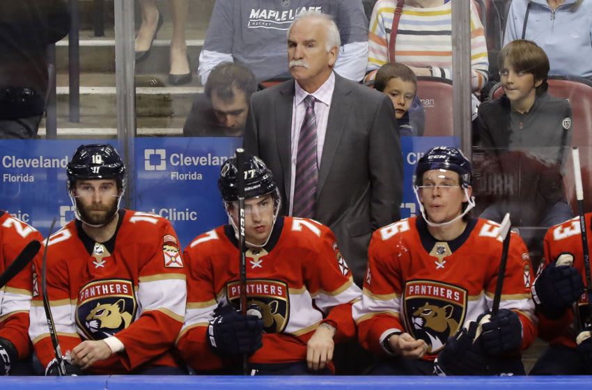 SUNRISE, FLORIDA - FEBRUARY 27: Head coach Joel Quenneville looks on from the bench against the Toronto Maple Leafs during the third period at BB&T Center on February 27, 2020 in Sunrise, Florida. Quenneville became the second coach in NHL history to coach in 1,700 games. (Photo by Michael Reaves/Getty Images)