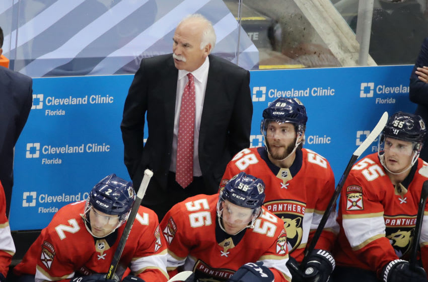 TORONTO, ONTARIO - JULY 29: Florida Panthers head coach Joel Quenneville handles bench duties against the Tampa Bay Lightning in an exhibition game prior to the 2020 NHL Stanley Cup Playoffs at Scotiabank Arena on July 29, 2020 in Toronto, Ontario, Canada. (Photo by Andre Ringuette/Freestyle Photo/Getty Images)