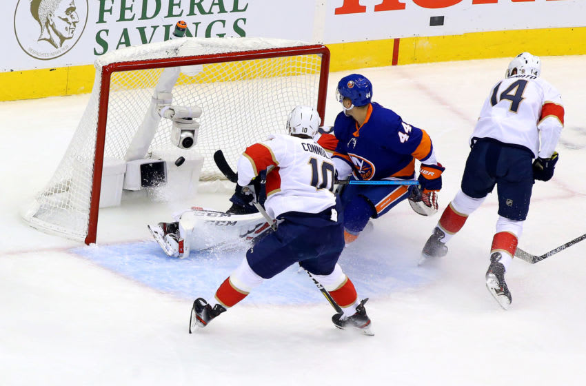 TORONTO, ONTARIO - AUGUST 01: Jean-Gabriel Pageau #44 of the New York Islanders scores a goal on Sergei Bobrovsky #72 of the Florida Panthers during the first period in Game One of the Eastern Conference Qualification Round prior to the 2020 NHL Stanley Cup Playoffs at Scotiabank Arena on August 1, 2020 in Toronto, Ontario, Canada. (Photo by Andre Ringuette/Freestyle Photo/Getty Images)