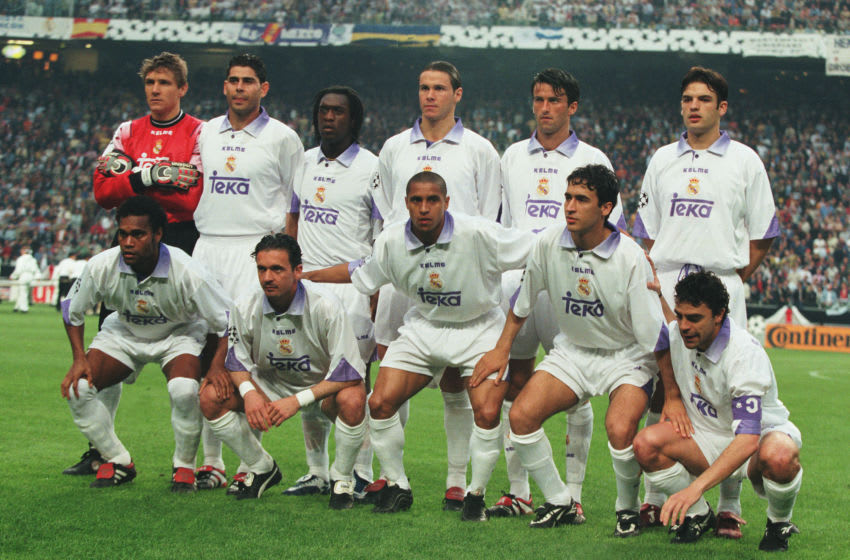 AMSTERDAM- MAY 20: The Real Madrid team line up before the Champions League Final football match against Juventus at the stadium Amsterdam Arena on May 20, 1998 in Amsterdam, Netherlands. (Back Row L to R) Ilgner, Hierro, Seedorf, Redondo, Panucci, Morientes. (Front Row L to R) Karembeu, Mijatovic, Roberto Carlos, Raul, Sanchis.