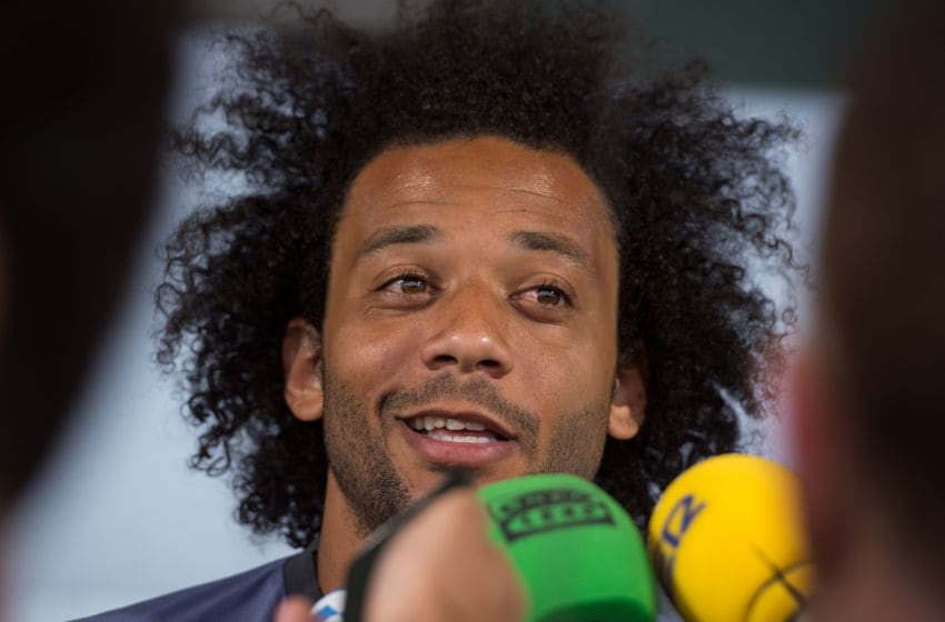 MADRID, SPAIN - MAY 30: Marcelo of Real Madrid CF answers questions in the mixed zone during the Real Madrid UEFA Open Media Day at Valdebebas training ground on May 30, 2017 in Madrid, Spain. (Photo by Denis Doyle/Getty Images )