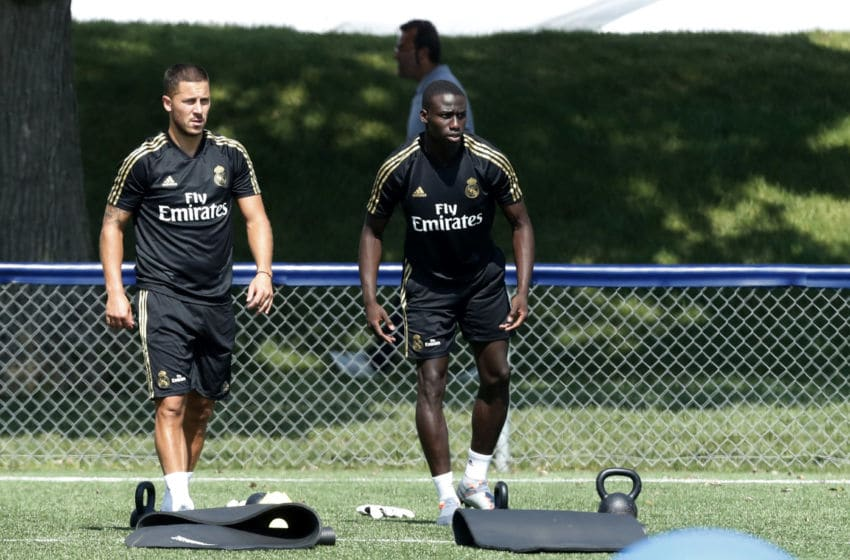 MONTREAL, QC - JULY 13: Eden Hazard of Real Madrid and Ferland Mendy of Real Madrid look on during the pre-season training camp on July 13, 2019 in Montreal, Canada. (Photo by TF-Images/Getty Images)