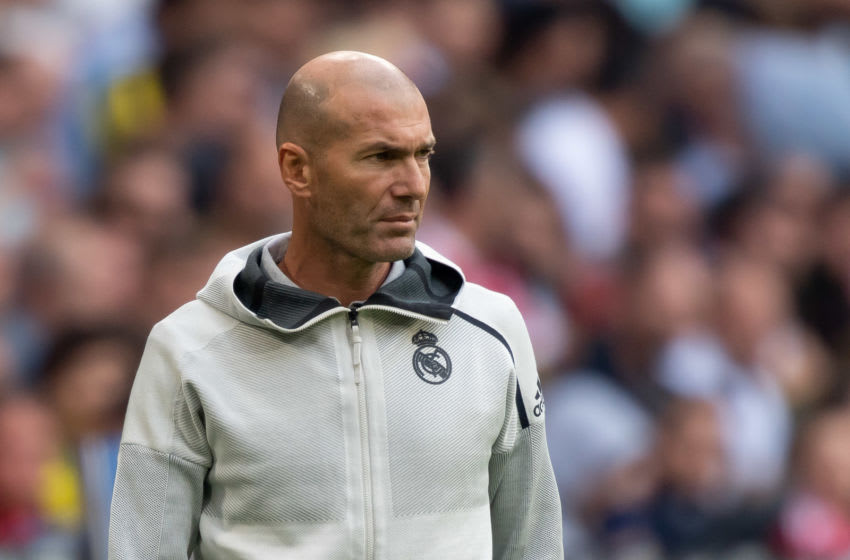 MUNICH, GERMANY - JULY 31: head coach Zinedine Zidane of Real Madrid looks on during the Audi cup 2019 3rd place match between Real Madrid and Fenerbahce at Allianz Arena on July 31, 2019 in Munich, Germany. (Photo by TF-Images/Getty Images)