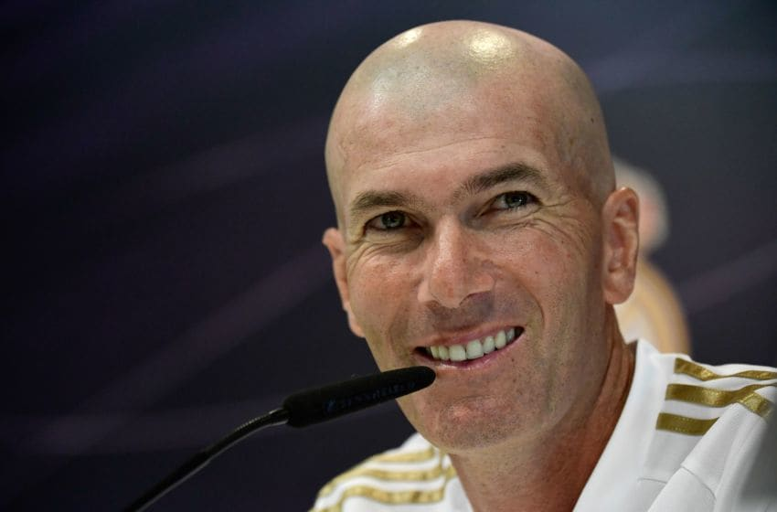 Real Madrid's French coach Zinedine Zidane holds a press conference at Real Madrid's sports city in Madrid on August 16, 2019. (Photo by JAVIER SORIANO / AFP) (Photo credit should read JAVIER SORIANO/AFP/Getty Images)
