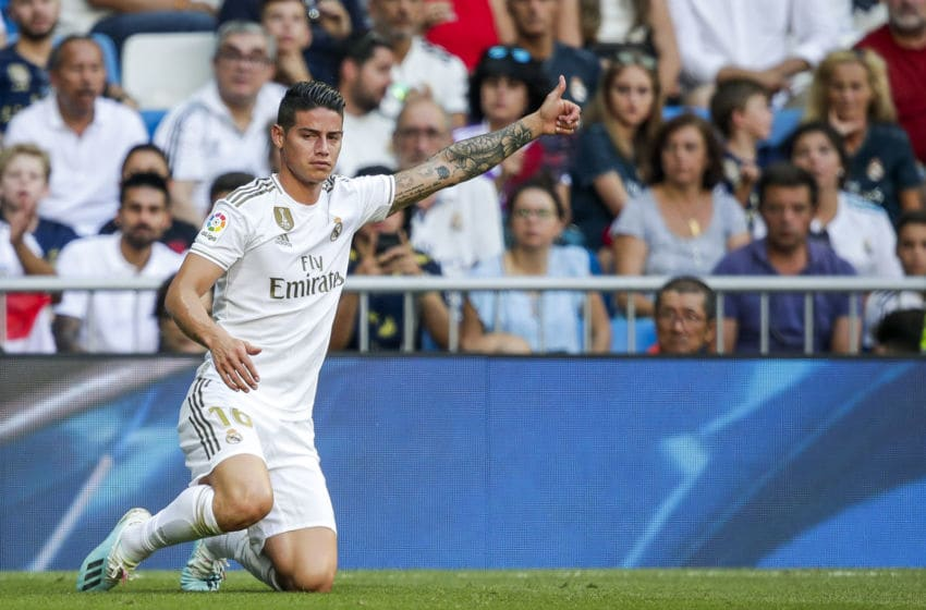 MADRID, SPAIN - AUGUST 24: James Rodriguez of Real Madrid during the La Liga Santander match between Real Madrid v Real Valladolid at the Santiago Bernabeu on August 24, 2019 in Madrid Spain (Photo by David S. Bustamante/Soccrates/Getty Images)