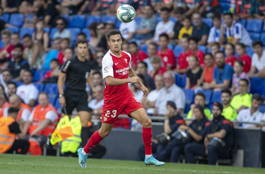 BARCELONA, SPAIN - August 18: Sergio Reguilon #23 of Sevilla in action during the Espanyol V Sevilla FC, La Liga regular season match at RCDE Stadium on August 18th 2019 in Barcelona, Spain. (Photo by Tim Clayton/Corbis via Getty Images)