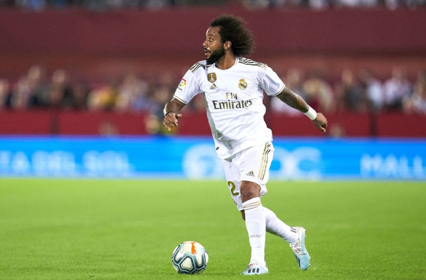 MALLORCA, SPAIN - OCTOBER 19: Marcelo of Real Madrid CF with the ball during the Liga match between RCD Mallorca and Real Madrid CF at Iberostar Estadi on October 19, 2019 in Mallorca, Spain. (Photo by Quality Sport Images/Getty Images)