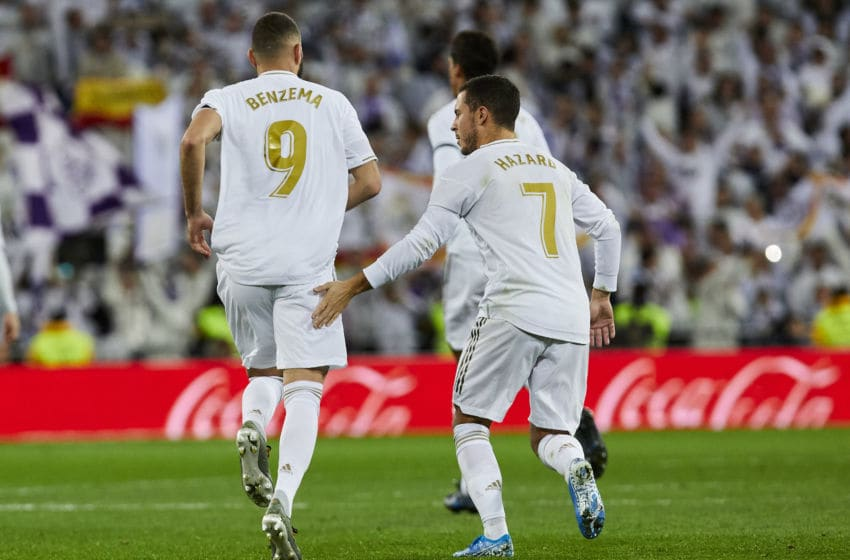 Karim Benzema (L) and Eden Hazard (R) of Real Madrid celebrates goal during La Liga match between Real Madrid and Real Sociedad at Santiago Bernabeu Stadium in Madrid, Spain. November 23, 2019. (Photo by A. Ware/NurPhoto via Getty Images)