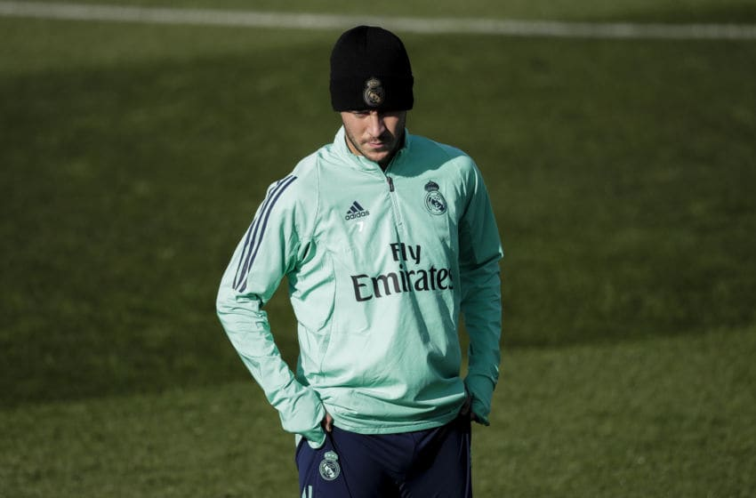 MADRID, SPAIN - NOVEMBER 25: Eden Hazard of Real Madrid during the Training Real Madrid at the Ciudad Deportiva Valdebebas on November 25, 2019 in Madrid Spain (Photo by David S. Bustamante/Soccrates/Getty Images)
