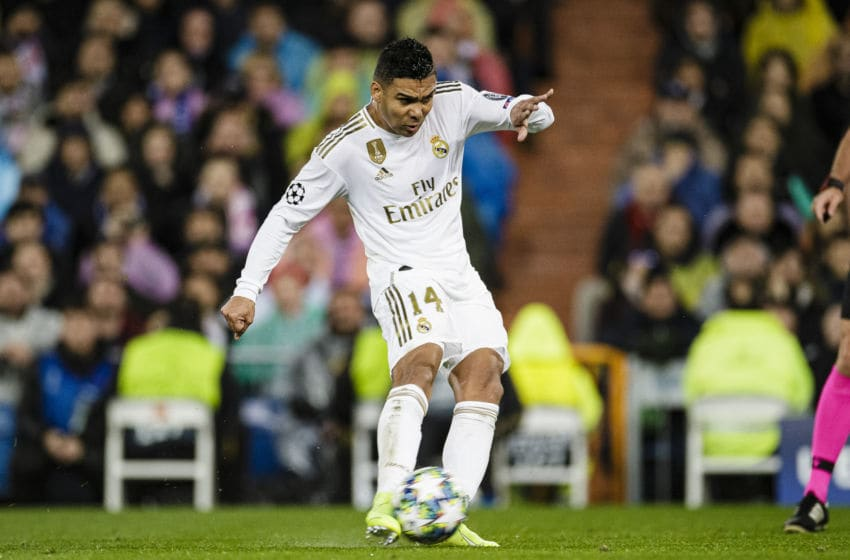 MADRID, SPAIN - NOVEMBER 26: Carlos Casemiro of Real Madrid looks to bring the ball down during the UEFA Champions League group A match between Real Madrid and Paris Saint-Germain at Bernabeu on November 26, 2019 in Madrid, Spain. (Photo by Eurasia Sport Images/Getty Images)