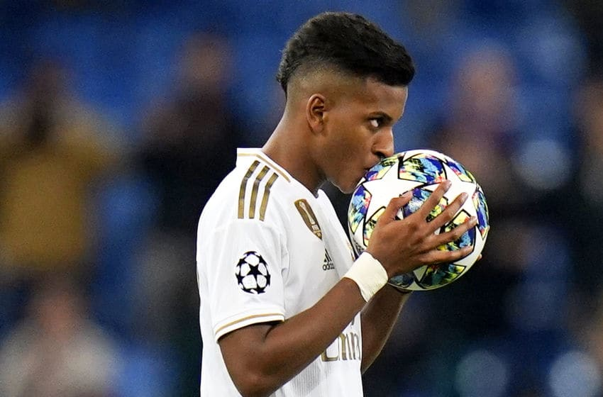MADRID, SPAIN - NOVEMBER 06: Rodrygo Goes of Real Madrid celebrates after scoring his third goal during the UEFA Champions League group A match between Real Madrid and Galatasaray at Bernabeu on November 06, 2019 in Madrid, Spain. (Photo by Quality Sport Images/Getty Images)