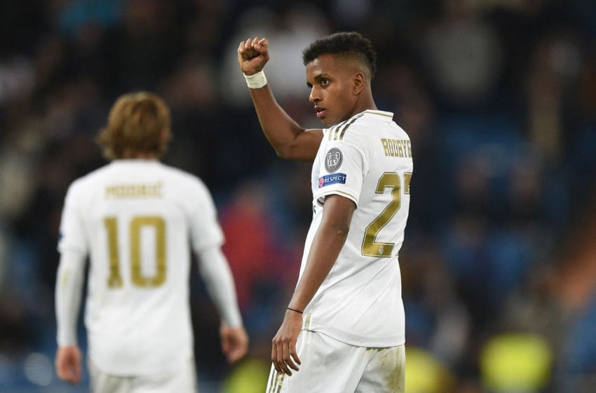 MADRID, SPAIN - NOVEMBER 06: Rodrygo of Real Madrid celebrates after scoring his team's 6th goal during the UEFA Champions League group A match between Real Madrid and Galatasaray at Bernabeu on November 06, 2019 in Madrid, Spain. (Photo by Denis Doyle - UEFA/UEFA via Getty Images)