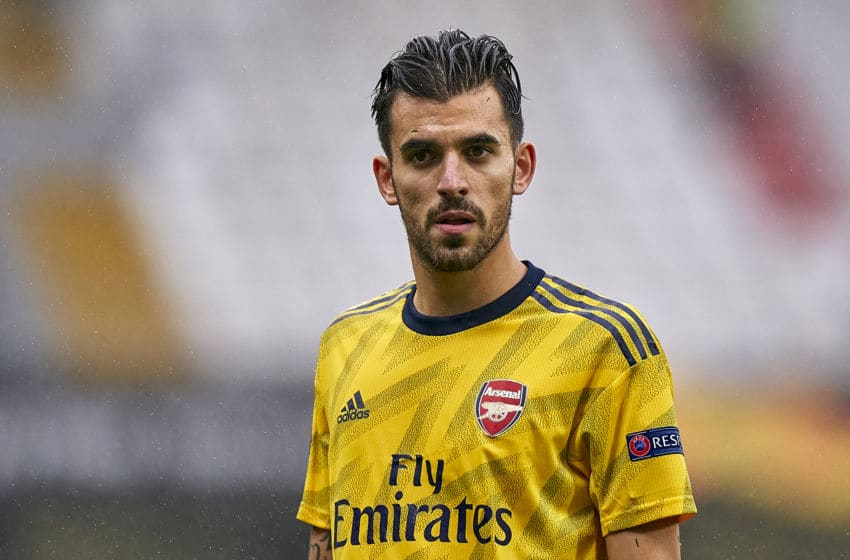 GUIMARAES, PORTUGAL - NOVEMBER 06: Dani Ceballos of Arsenal FC looks on during the UEFA Europa League group F match between Vitoria Guimaraes and Arsenal FC at Estadio Dom Afonso Henriques on November 06, 2019 in Guimaraes, Portugal. (Photo by Quality Sport Images/Getty Images)