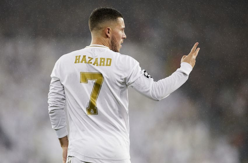 MADRID, SPAIN - NOVEMBER 26: Eden Hazard of Real Madrid looks on during the UEFA Champions League group A match between Real Madrid and Paris Saint-Germain at Bernabeu on November 26, 2019 in Madrid, Spain. (Photo by Quality Sport Images/Getty Images)