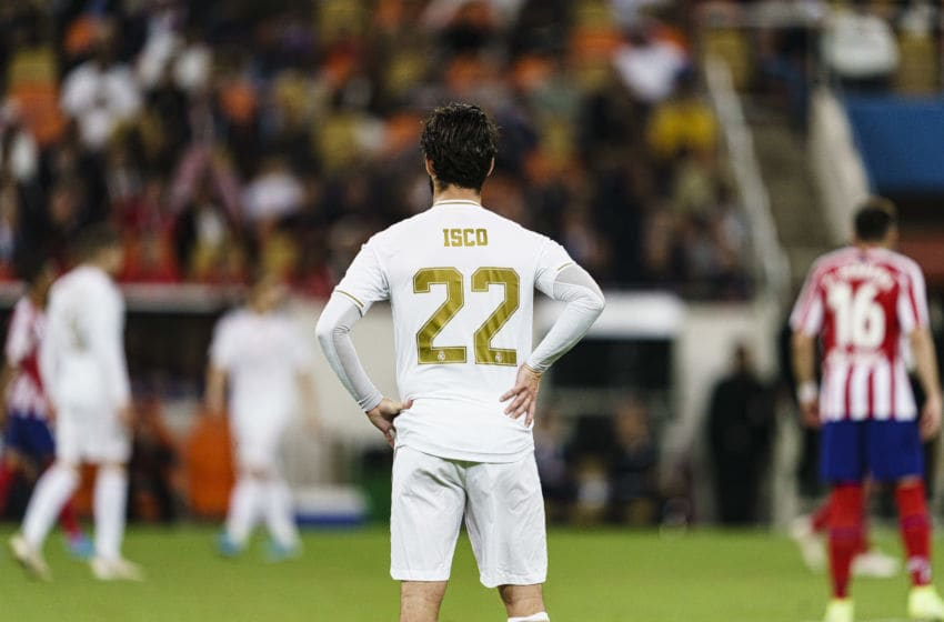 JEDDAH, SAUDI ARABIA - JANUARY 12: Isco Alarcon of Real Madrid walks in the field during the Supercopa de Espana Final match between Real Madrid and Club Atletico de Madrid at King Abdullah Sports City on January 12, 2020 in Jeddah, Saudi Arabia. (Photo by Eurasia Sport Images/Getty Images)