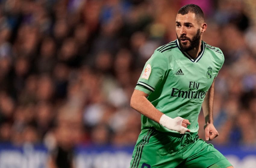 ZARAGOZA, SPAIN - JANUARY 29: Karim Benzema of Real Madrid during the Spanish Copa del Rey match between Real Zaragoza v Real Madrid at the La Romareda on January 29, 2020 in Zaragoza Spain (Photo by Jeroen Meuwsen/Soccrates/Getty Images)