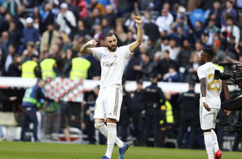 SANTIAGO BERNABEU, MADRID, SPAIN - 2020/02/01: Real Madrid CF's Karim Benzema celebrates a goal during the Spanish La Liga match round 22 between Real Madrid and Atletico de Madrid at Santiago Bernabeu Stadium in Madrid. (Final score; Real Madrid 1-0 Atlético de Madrid). (Photo by Manu Reino/SOPA Images/LightRocket via Getty Images)