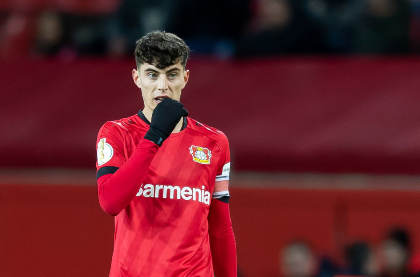 LEVERKUSEN, GERMANY - MARCH 04: (BILD ZEITUNG OUT) Kai Havertz of Bayer 04 Leverkusen looks on during the DFB Cup quarterfinal match between Bayer 04 Leverkusen and 1. FC Union Berlin at BayArena on March 4, 2020 in Leverkusen, Germany. (Photo by Max Maiwald/DeFodi Images via Getty Images)